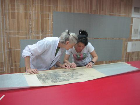 Susan Catcher, CPD grant 2013-14, at a scroll mounting studio in Nanjing.