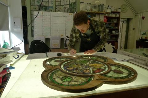 Matt Nickels (Plowden Scholar 2017-2019) a student of the MA Stained Glass Conservation & Heritage Management.