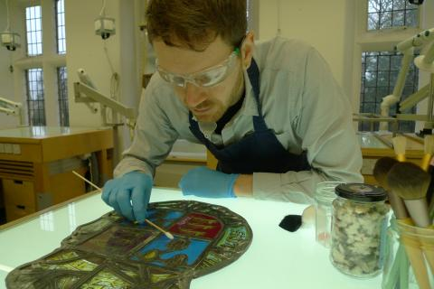 Matt Nickels was a Plowden Scholar while studying stained glass conservation at the Univesity of York.