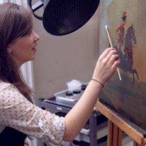 Alysia Sawicka working on David Morier, 'Private, 15th Light Dragoons', c.1760.